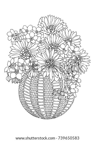 Vase With Sunflowers Hand Drawn Picture Sketch For Anti Stress Adult Coloring Book