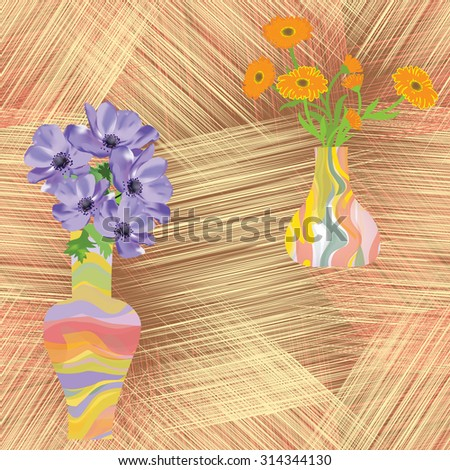 Vases with flowers on grunge striped background in seamless composition
