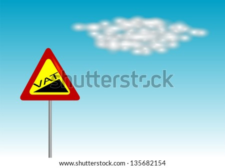 VAT increase sign on blue sky - stock vector