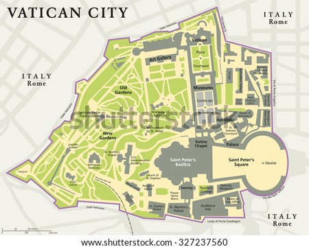 Vatican City Political Map City State Stock Vector 327237560