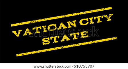 Vatican City State watermark stamp. Text caption between parallel lines with grunge design style. Rubber seal stamp with unclean texture. Vector yellow color ink imprint on a blue background.