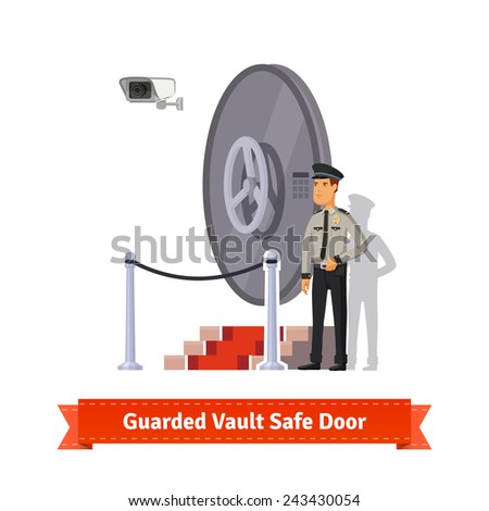 Vault safe door with podium and red carpet fence guarded by an officer in uniform and a security camera. Flat style illustration.  - stock vector