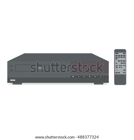 VCR with remote control. Vector illustration.