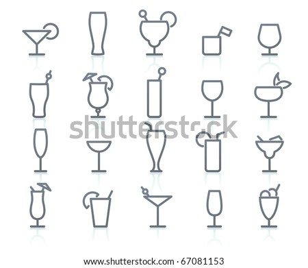 Vctor icons  set of cocktail and liquor glasses. - stock vector