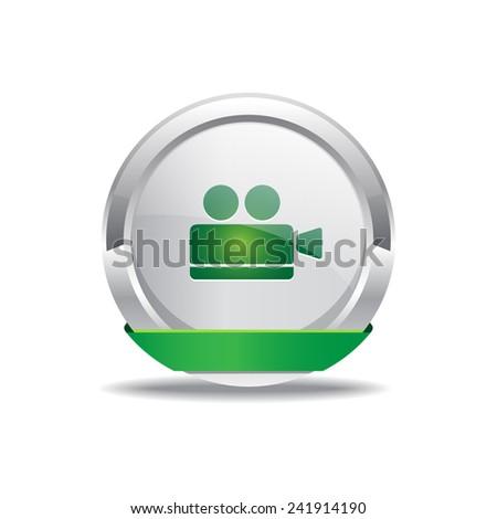 Vdeo Camera Green Vector Icon Button - stock vector