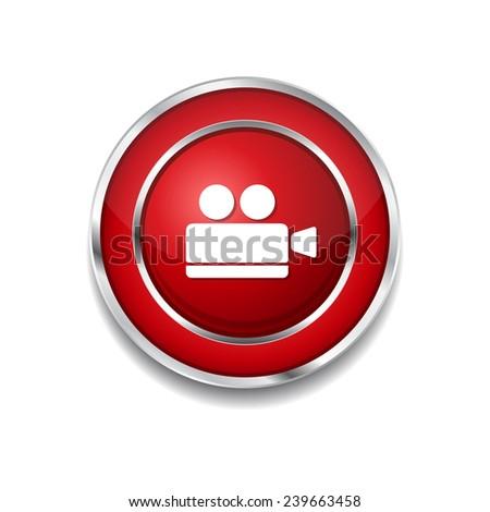 Vdeo Camera Red Vector Icon Button - stock vector