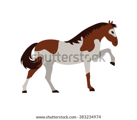 Ve?tor flat illustration of unicorn on black background. Element for design. White, gray, orange colors.