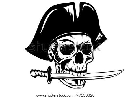 Vecctor image pirate with dagger - stock vector