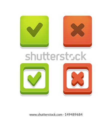 Vecktor check box with check marks isolated on white background - stock vector