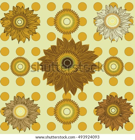 Vecrtor pattern of sunflowers