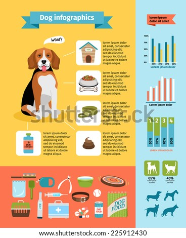Vecto dog infographics, dog food and kennel, veterinary and grooming, dog collar and dog shows - stock vector