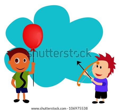 vector - A Bad boy is shooting arrow to the balloon. - stock vector