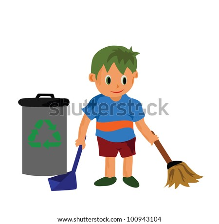 Vector - A cleaning boy.A boy and recycle bin. - stock vector