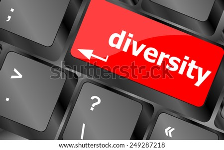vector A computer keyboard with keys spelling diversity, Learn - stock vector
