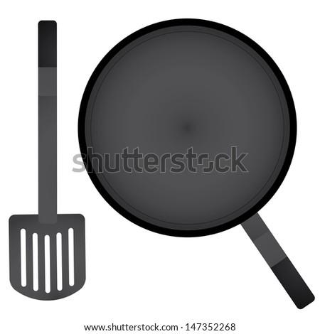 vector a pan and spatula - stock vector