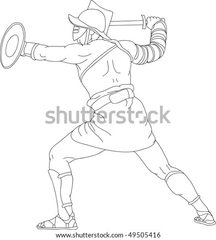 vector - a Roman gladiator fighting - stock vector