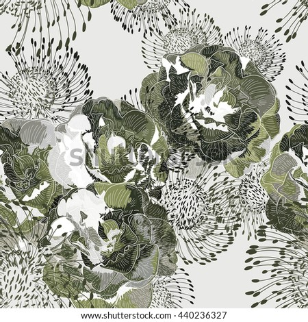 Vector a seamless sample dance of flowers for textiles