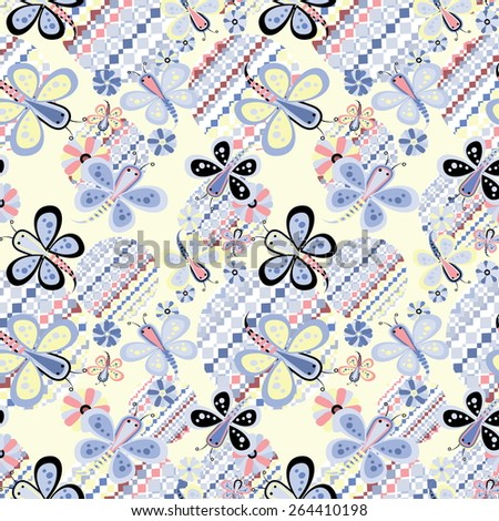 Vector a seamless sample of a butterfly for children's design - stock vector