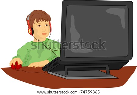 vector  -  A young child working on computer - stock vector