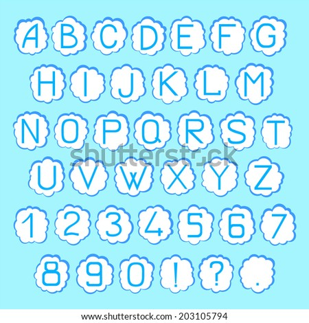 Vector ABC set on the cloud backgrounds - stock vector