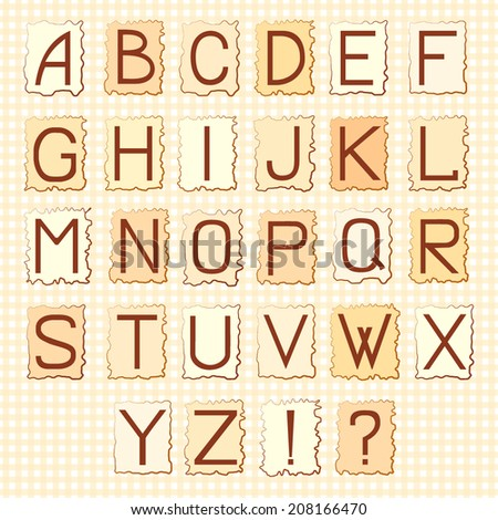 Vector ABC set on the stylized vintage backgrounds - stock vector