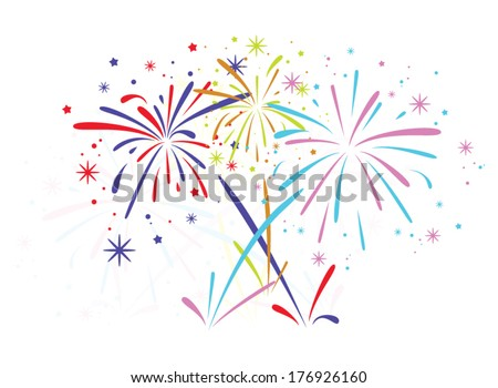 vector abstract anniversary bursting fireworks with stars and sparks on white background - stock vector