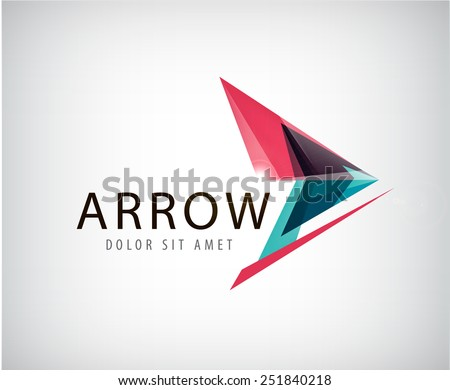 vector abstract arrow logo, icon isolated. Point logo, web abstract, direction, geometric triangles logo - stock vector