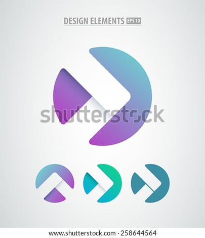 Vector abstract arrows icon. Modern design elements isolated on white. Simple logo elements - stock vector