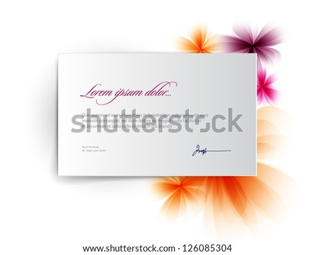 Vector abstract background: a sheet of white note paper / letter / postcard with flowers - stock vector