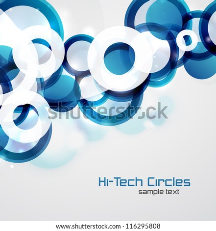 Vector abstract background: colorful circles with sample text - stock vector