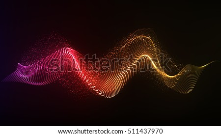 Vector abstract background. Dynamic light  flow, with blurred neon light effect.