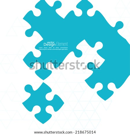 Vector abstract background from pieces of puzzle and a pattern of triangles. jigsaw.  Business concept of teamwork and making the right decisions. fix - stock vector