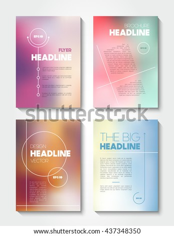 Vector abstract background in two parts - blurred and polygonal, graphic design template - stock vector