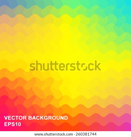 Vector abstract background is composed of iridescent colorful wavy elements - stock vector