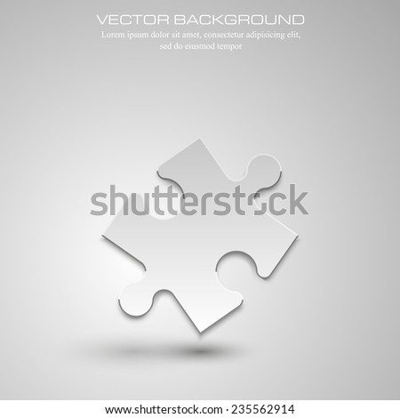 Vector Abstract background made from white puzzle pieces and place for your content - stock vector