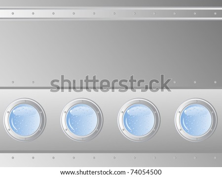 Vector abstract background. Metal surface. Sheathing ship. During the four portholes deep water.
