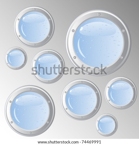 Vector abstract background. Metal surface. Sheathing ship. During the round portholes of various sizes water depth.