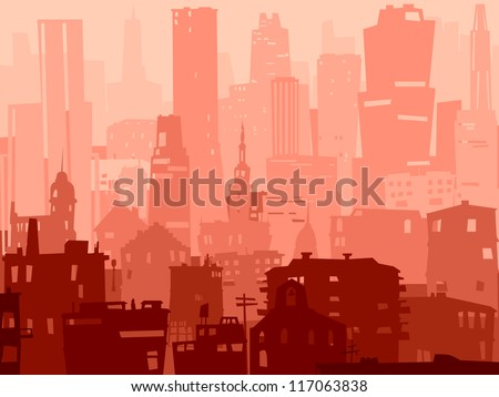 Vector abstract background of big city with roofs, windows and skyscrapers.