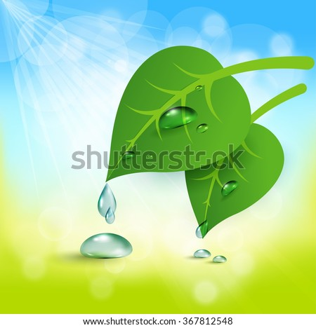 vector abstract background of green leaf and a drop of dew - stock vector