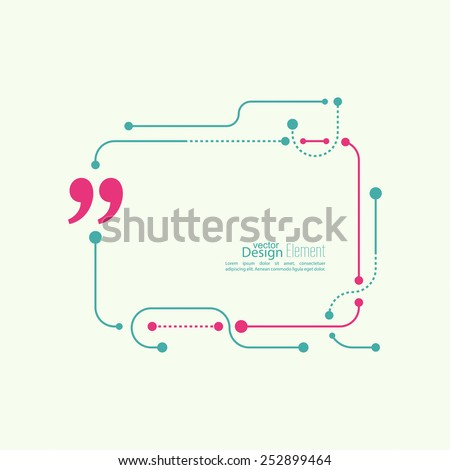 Vector abstract background.Quotation Mark Speech Bubble. Quote sign icon. techno design - stock vector
