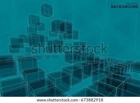 Vector abstract background shattering plane of 3d cubes in perspective for your design, business style, logo, print or internet.