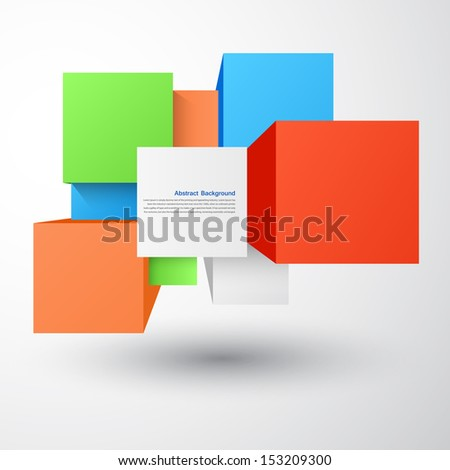 Vector abstract background. Square and 3d object - stock vector