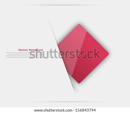 Vector abstract background. Square red and 3d object - stock vector