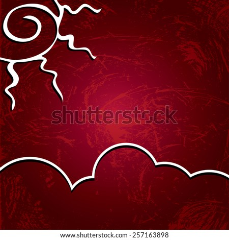 Vector abstract background. Sun on a shabby burgundy background - stock vector