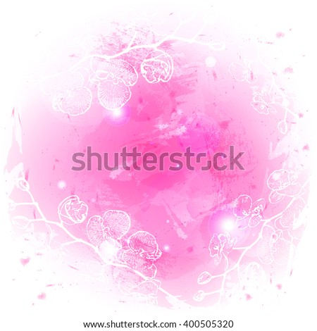 vector abstract background watercolor stylized with outline orchid branch. illustration. eps10.
