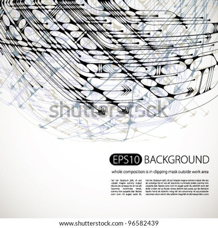 Vector abstract background. Whole lines and shapes composition is in a clipping mask outside work area. Easy to edit or change composition. - stock vector