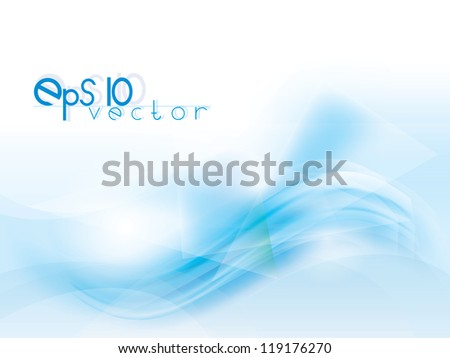 Vector abstract background with blue waves and lines - stock vector