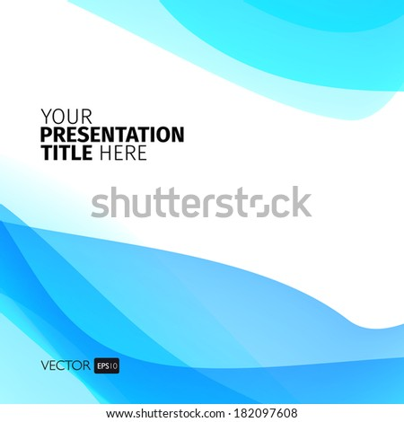 Vector abstract background with blue waves. Presentation template. - stock vector