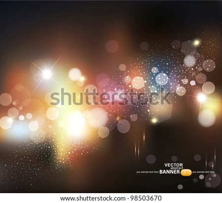 vector abstract background with blurred defocused lights - stock vector