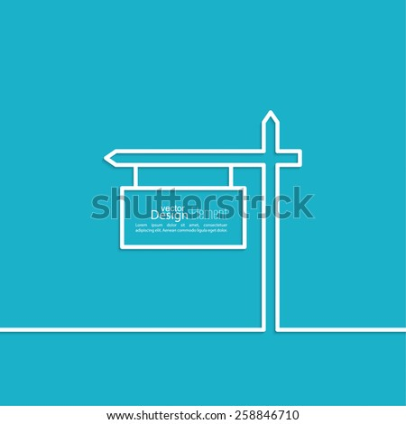 Vector abstract background with direction arrow sign.  A place for advertising and announcements.  minimal. Outline. - stock vector